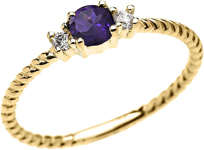 Dainty Amethyst Solitaire Rope Design Engagement //Promise Ring in Yellow Gold