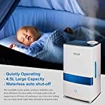 """LEVOIT Cool Mist 5 HIGH CAPACITY: The 1. 1 gal / 4. 5 L water tank allows up to 40 hours of continuous use on the lowest mist setting. On the highest setting, the mist reaches up to 300 mL/hr. , easily humidifying offices, nurseries, and other large rooms WHISPER QUIET: The humidifier's ultrasonic technology operates at a near-silent 28dB. The silent controls and the indicator light's automatic shutoff let you enjoy comfortable, disturbance-free sleep AROMATHERAPY: Add essential oils to the aroma box of our filter-free humidifier to infuse the air with your favorite fragrances. It will fill your whole room with lovely moisture while create a relaxing aromatherapy ambience. Essential oils are available for purchase (Search for """"LVO-6SET"""" on ). Note: Do not add essential oils directly to the water tank or base"""
