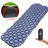 WACOOL Ultralight Inflatable Sleeping Pad Mat Air Mattress - Ultra-Compact for Backpacking, Camping, Travel, Air-Support Cells Design (Gray)