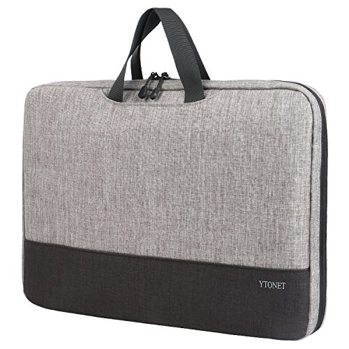 Laptop Sleeve for Women Men 15.6 Inch, Ytonet TSA Universal Laptop Case fit for Lenovo HP Dell Macbook Asus Toshiba Acer Chromebook, Computer Carring Bag Cover for Travel,Office,School - Grey Black