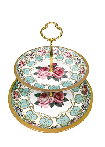 Present Avenue floral 2 tier cake and pastry stand server (Teal and Gold) ()