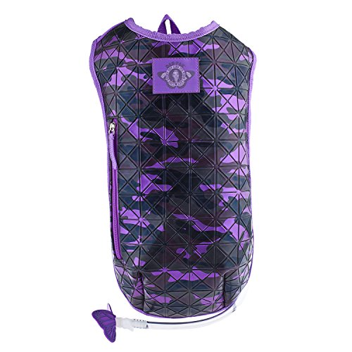 Dan-Pak Hydration Pack 2l-Campground Camo (Purple) -Purple Camouflage Rubber Faux Leather Geometric Design