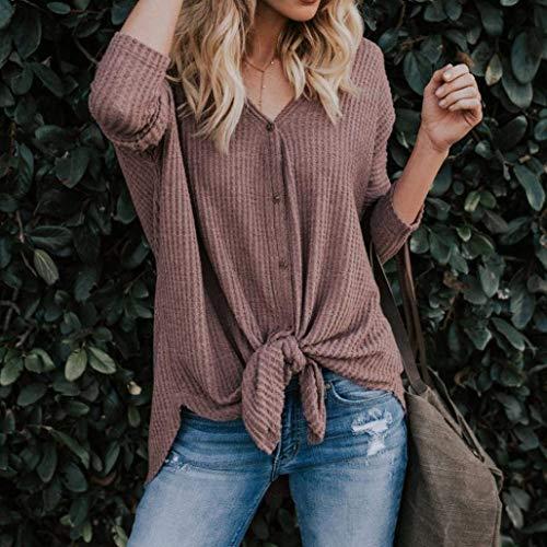 Mujer Fashion V Tops Elegantes Solo cuello Larga Winered Anchas Casual Pecho Blusas Modernas Shirt Un Primavera Unicolor Otoño Camisas Manga Señoras Huixin Anudado Z5IwI