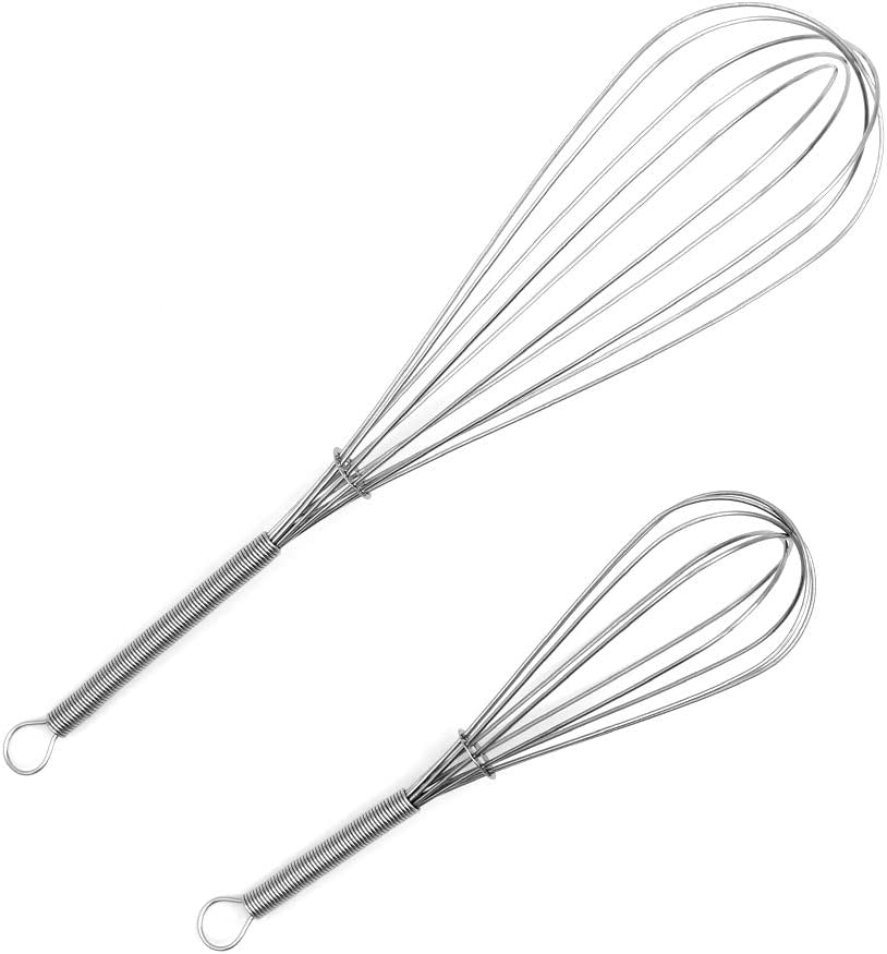 Whisks for Cooking Set of 2, Stainless Steel Wisker for Baking, Blending, Rust-Proof Balloon Wire Whisker Egg Whisk Hand Mixers (11.6 inches and 7.7 inches)