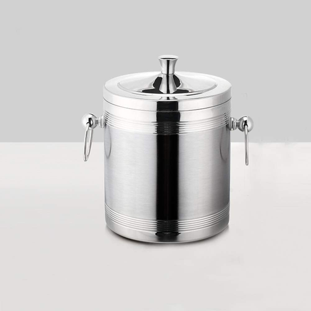 HEWEI Double-Walled Stainless Steel ice Bucket Beverage tub with Ktv Cooler Bucket with lid and Tongs-f 14x18cm (6x7inch)
