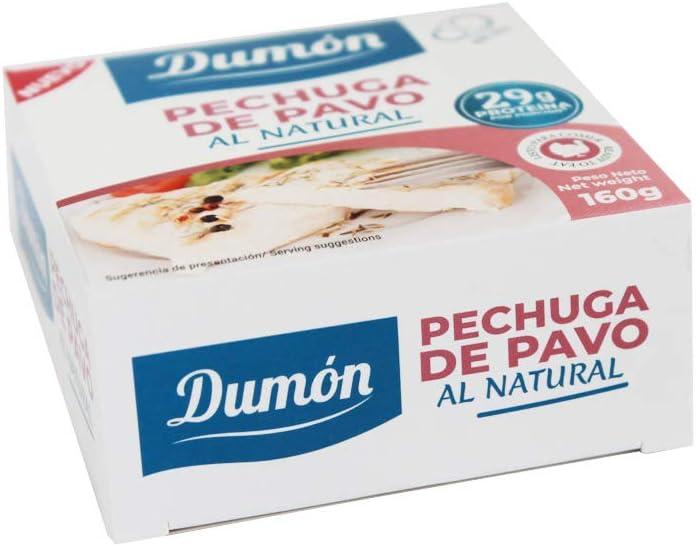 DUMON - NUEVO - 18 Unidades de 160 gr de Conservas de Pechugas de Pavo en su Propio Jugo o Agua. Alimento Enlatado Alto en Proteínas 29 gr cada porción de Pavo
