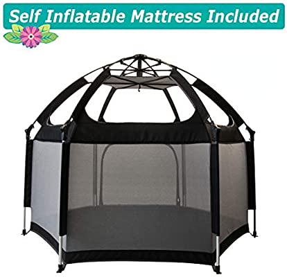 Exqline Portable Safety Kids Playpen for Infants and Babies Foldable and Compact Best 6-Panel Baby Playard for Indoor and Outdoor 2018 Updated New Version Baby Playpen