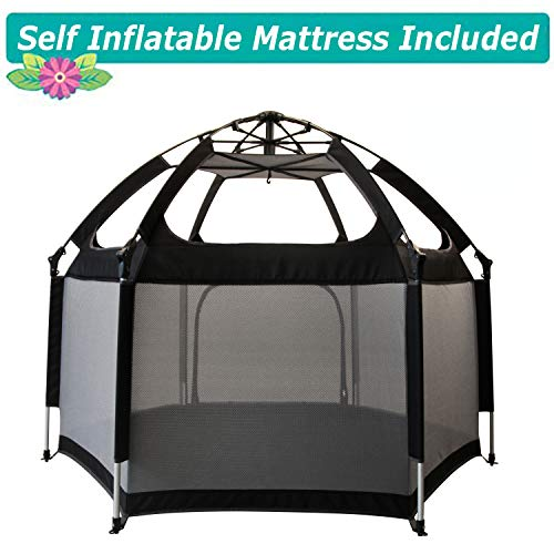 Baby Playpen, Exqline Portable Safety Kids Playpen for Infants and Babies, Foldable and Compact with Safety Mattress Best 6-Panel Baby Playard for Indoor and Outdoor Black
