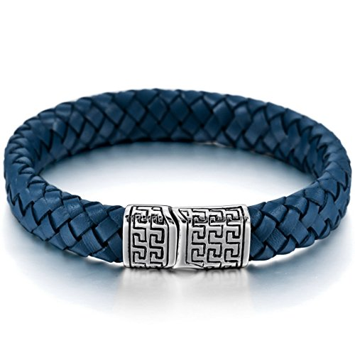 Silver Blue Leather - MOWOM Silver Blue Stainless Steel Genuine Leather Bracelet Bangle Cuff Greek Braided