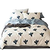 ORUSA Cotton Cactus Queen Reversible Duvet Cover Set for Girls Teen Adults Bedding Sets with 2 Pillow Sham, Striped Bedding Sets (Queen/Full, Style 5)