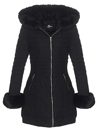 OSAB-Fashion 5051 Damen Steppjacke Steppmantel Winter Jacke Webpelz Kapuze   Amazon.de  Bekleidung 1412acb781