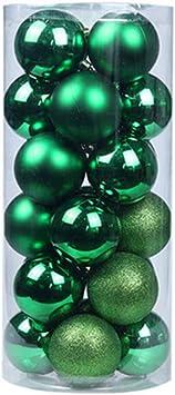 f/êtes Dayoly Lot de 24 boules de No/ël incassables pour sapin D/écoration pour saison de No/ël vert fonc/é 4cm