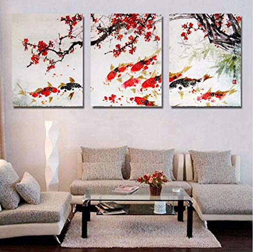 Wadyx Hd Printed Modular Pictures Frameless Painting for Room Home Wall Art Decor 3 Pieces Cherry Blossom Koi Fish Canvas Abstract Poster 40X60Cmx3Pcs