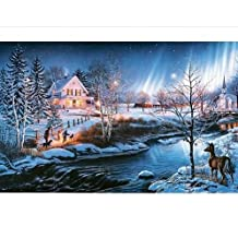 """Bits and Pieces - 1000 Piece Glow in the Dark Puzzle - All is Bright by Artist James Meger - Winter Holiday Landscape - 1000 pc Jigsaw - 20"""" x 27"""""""