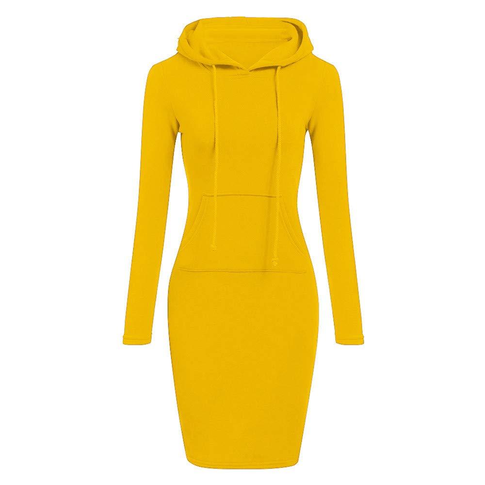 TOPUNDER Long Sleeve Patchwork Dress Casual Long Hooded Sweatershirt Dresses Women Yellow