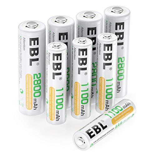 EBL AA AAA NiMH Rechargeable Batteries Set, 4 x 2800mAh AA Battery bundle with 4 x 1100mAh AAA Battery and 2 x Rechargeable Battery Cases