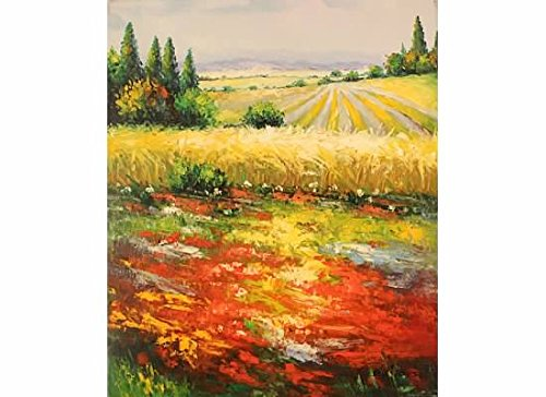 100% Hand Painted Canvas Oil Painting for Wall Art Decor, Wheat Field in Tuscany Oil Painting