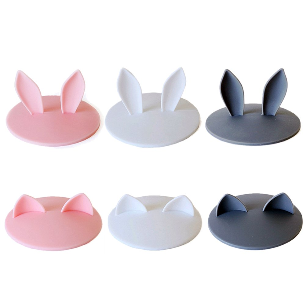 Super Cute Silicone Cup Lids Mug Cover, Soft Rabbit Cat Ear Drink Cup Bowl Cap, Kids Gift Home Decor, Set of 6 (Pink+White+Grey) by RainTick