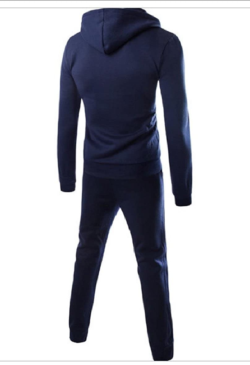 Tootless-Men Zip-up Pockets Slim-Tapered Solid Hood Jacket /& Long Pants Set