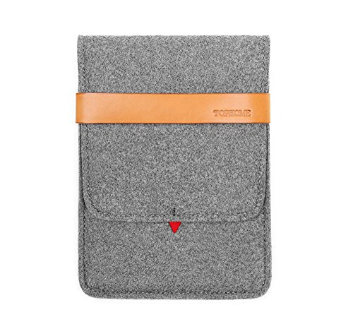 TOPHOME Protector Bag Wool Felt Sleeve Carrying Case Cover Genuine Leather Lock Compatible for iPad Mini/iPad Mini 2/ iPad Mini 3/ iPad Mini 4, Grey