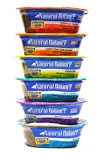 Natural Balance Grain Free Delectable Delights Wet Cat Food Variety Pack - 6 Flavors - 2.5 oz Each (12 Total Tubs)