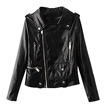 KaiCran Lady sweatershirt Women Fashion Vintage Biker Motorcycle Leather Coat Zipper Jacket Outwear (Large, Black)