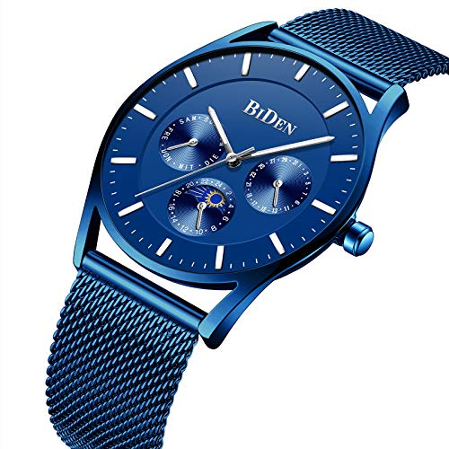 Men's Quartz Watch Minimalist Ultra-Thin Waterproof Fashion Blue Wrist Watch Day Date Display Stainless Steel Mesh Band