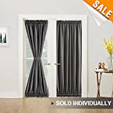 Cheap Room Darkening French Door Curtains Linen Textured French Door Panels 72 inch Length French Door Panel Curtains with a Bonus Tieback, 1 panel, Dark Grey
