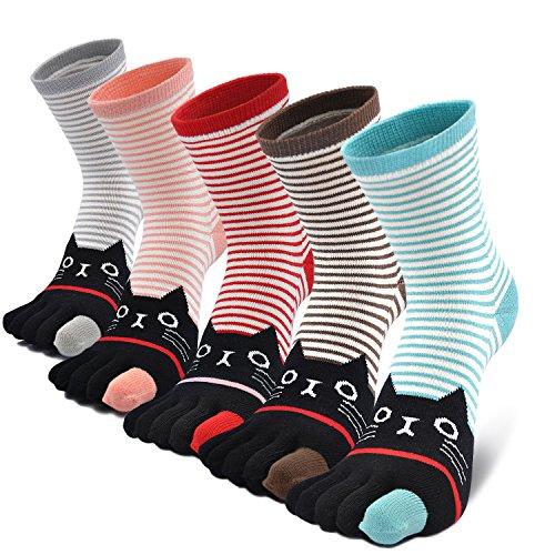 Toe Animal - Women's Toe Sock Cute Striped Cotton Five Finger Cat Crew Sock Athletic Running Toe Socks for Girls (5 Pairs)