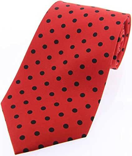 Red/Black Polka Dot Silk Twill Tie by David Van Hagen