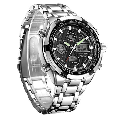 Stainless Watch Sport Steel - Men Sport Casual Watch Dual Display Stainless Steel Waterproof Chronograph Wristwatch with LED Back-Light ...