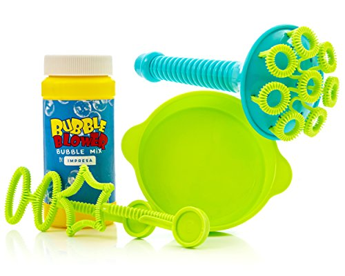 Impresa Products Bubble Wand Kit - Includes Multi-Blow Wand, Bubble Solution, Dipping Dish 2 Bonus Wands - Makes Hundreds of ()