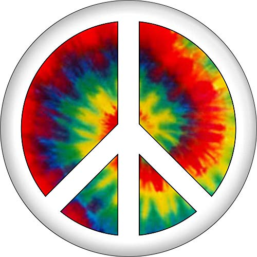 (Peace Sign - White on Tie Dye - 2.25