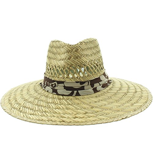 Men's Pierside Sonoma Patriotic Inspired Straw Sun Hat (One Size Fits Most, Brown Hawaiian Floral) -