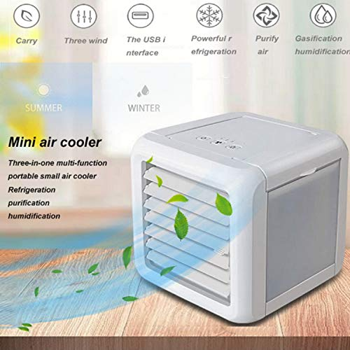 m·kvfa Multi-Function Portable Small Fan Air Cooling System Household Office Lighting LED Air Cooler Three Block Wind Speed 7 Color LED Atmosphere Light
