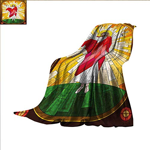 Hariiuet Abstract Digital Printing Blanket Painting Style Religious Figure Stained Glass Design Good Friday Medieval Print Summer Quilt Comforter 62