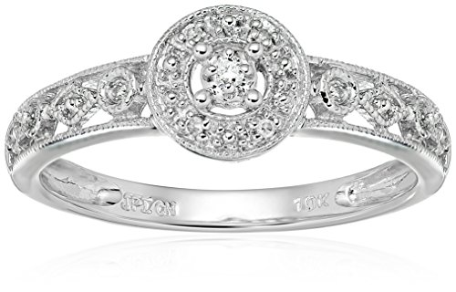 10k White Gold Circle Vintage Diamond Accent Promise Ring, Size 8