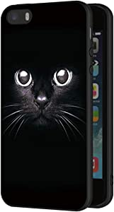 Eouine Apple iPhone 5 / 5s / SE Case, Phone Case Silicone Black with Pattern Ultra Slim Shockproof Soft Gel Back Cover Protective Bumper Skin for Apple iPhone 5 / 5s / SE Smartphone (Black Cat)