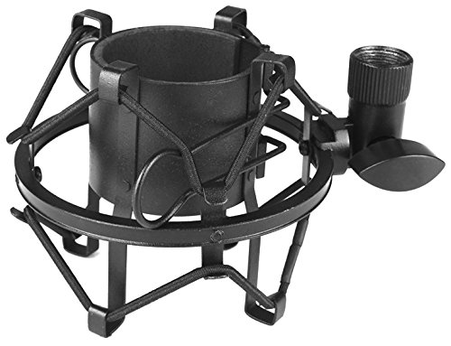 Updated Pyle Pro Shock Mount, Clip Holder, Anti-vibration Mount, Standard Size, Quick Angle Adjustment, Padded Mic Clamp, Easily Locks into Position, Die-Cast Steel Adapter (PSM05)