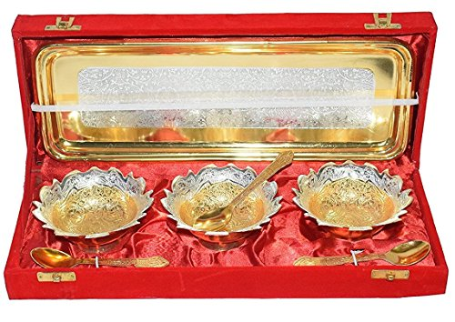 Diwali gift Antique Brass Gold and Silver Plated Pure Brass Engraved Premium 3 Pc Bowl Set with Tray and Spoons With Red Velvet Box .Modern and Traditional Home Decor Themes.Perfect Christmas Gift ()