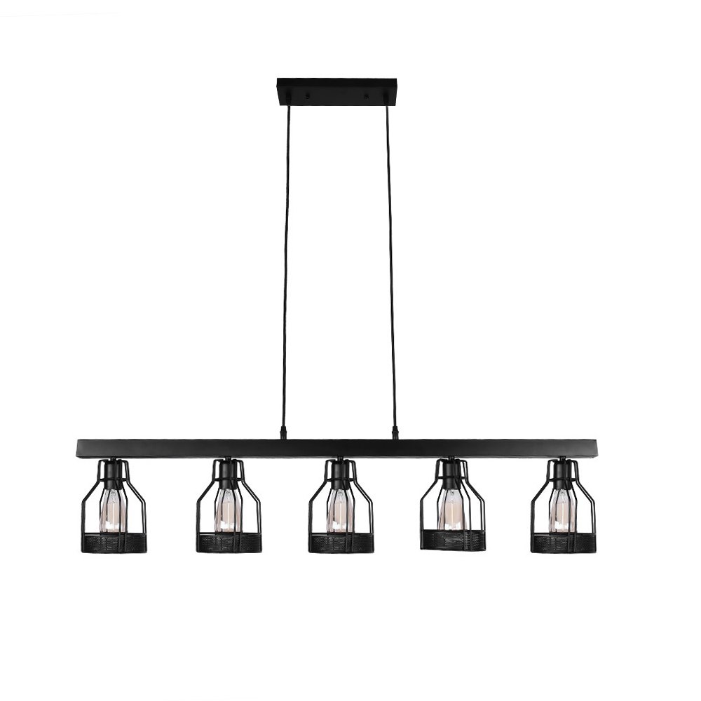 Lingkai Antique Kitchen Island Light Black Metal Pendant Light Ceiling Light with Wire Cage Hanging Light Fixture Painted Finish