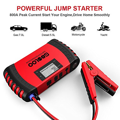 GOOLOO 800A Peak 18000mAh Car Jump Starter Up To 70L Gas Or 55L Diesel Engine Portable Power Pack Auto Battery Booster Phone Charger Built In LED Light And Smart Protection