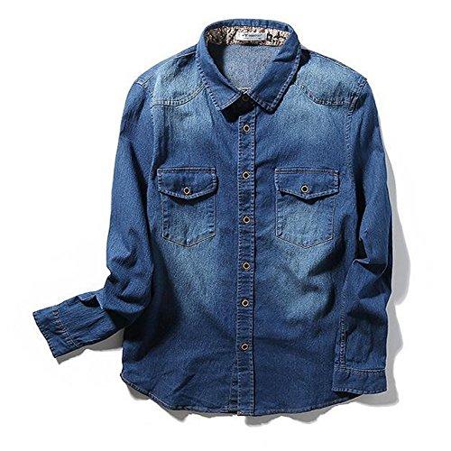 Herren Jeanshemd vintage slim fit aufwendiges Denim Shirt Langarm Denim Hemd Slim Fit (5XL(EU:3XL), dunkelblau)