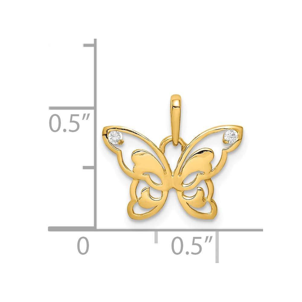 Mia Diamonds 14k Yellow Gold Polished CZ Butterfly Pendant