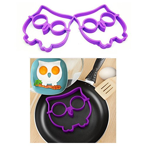 Awayyang Owl & Skull Nonstick Silicone Egg Ring Maker Mold Shaper 3Pcs (Baroque Rice Pearl)
