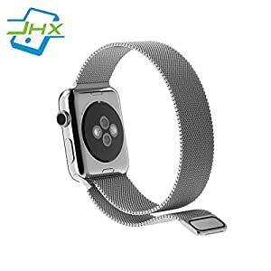 JHX for Apple watch Band, Milanese Loop Mesh Smooth Stainless Steel Strap Freely Fully Magnetic Closure Clasp Metal Strap Wrist Band Replacement Bracelet for Sport & Edition Series 1/2/3 (42mm Silver)