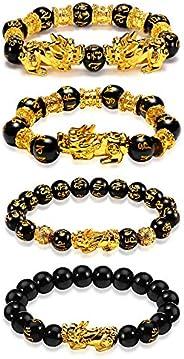 EnjoIt 12mm 4PCS Feng Shui Black Obsidian Wealth Bracelet Pi Xiu Charm Handmade Lucky Amulet Bracelet for Men