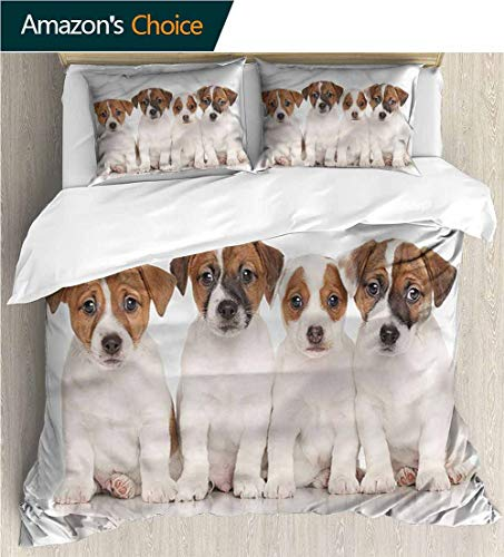 (VROSELV-HOME Print Comforter Quilt Set,Box Stitched,Soft,Breathable,Hypoallergenic,Fade Resistant with 2 Pillowcase for Kids Bedding-Cute Jack Russell Terrier Puppies (87