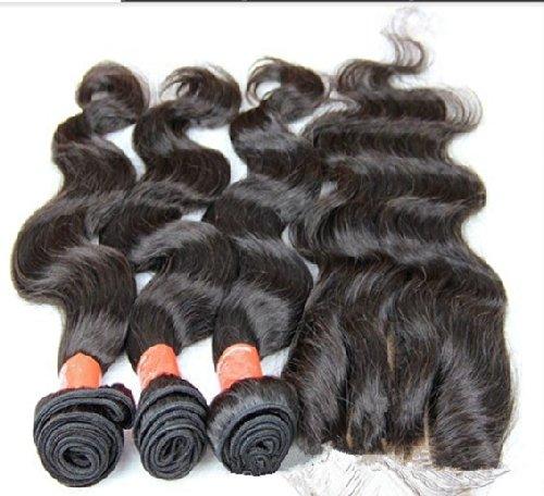 Dajun Hair 7A Peruvian Virgin Remy Human Hair Lace Closure With Bundles 3 Part Closure Body Wave Natural Color 10 Closure 16 16 18 Weft