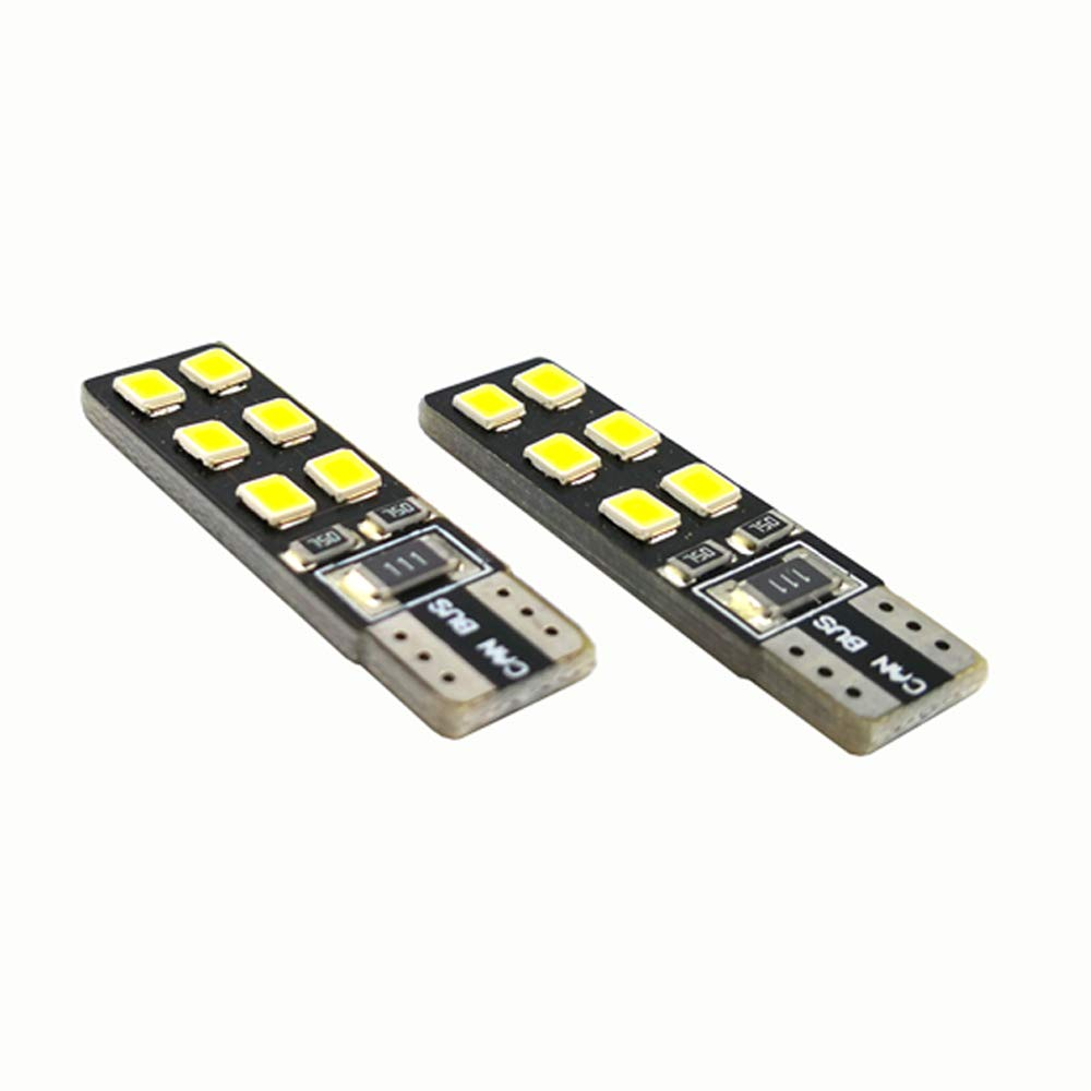 TKD T10 Car LED W5W Canbus 2835 12SMD Car Interior Dome Map Door Courtesy License Plate Light clearance lamp 6000K White Pack of 10
